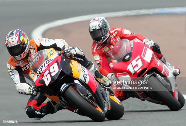 World championpship leader US Nike Hayden with his Honda rides ahead Sete Gibernau from Spain on Ducati and classed eleven during the GP category...