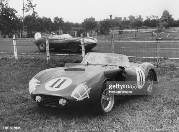 Le Mans Hawthorn's Jaguar D type passes de Portago's stricken Ferrari Creator Unknown