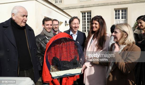 Le Mans' Mayor Jean Claude Boulard French journalist Stephane Bern French Junior Minister for Gender Equality Marlene Schiappa and President of The...
