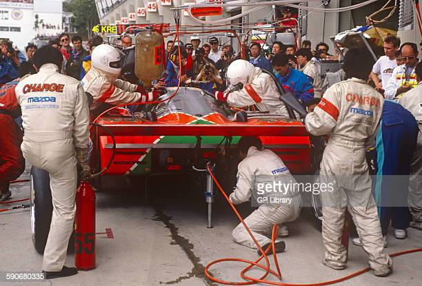 Le Mans winning Mazda 787B pit stop driven by Johnny Herbert