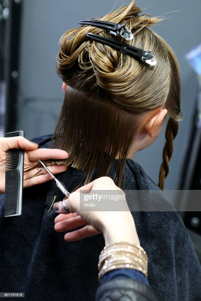 Le Mans (western France). . Young woman, hairdressing apprentice, cutting a woman's hair.