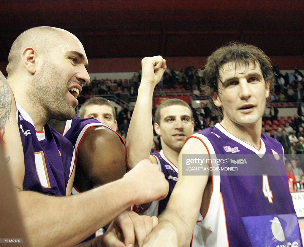 Le Mans?s forward Philip Ricci of the US, Raviv Limonad of Israel and Le Mans? guard Nebojsa Bogavac of Montenegro jubilate after the winning against Zagreb 100 ? 87 during their Euroleague Basketball match in Le Mans, 23 January 2008.