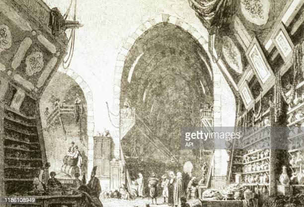 Le marché des drogues à Constantinople, illustration du magazine 'Le Magasin pittoresque' d'Edouard Charton, publiée en 1861.