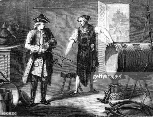 Le marquis Claude François Dorothée de Jouffroy supervisant la fabrication de sa machine à vapeur.