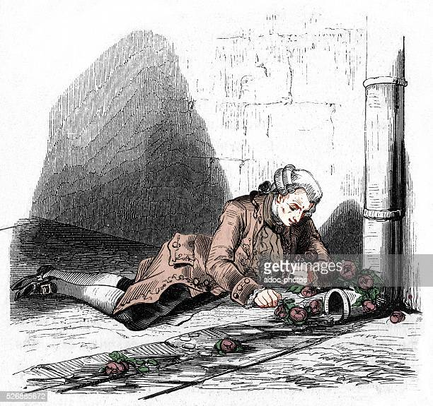 Le Marquis de Sade jailed in Bic��tre playing with roses In March 1803