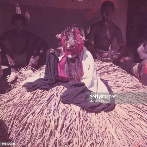 Le masque mâle Nyon kpman teint en rouge appartient à un chef de guerre chez les Kono dans le village de Nzo en Guinée vers 19501960 Le masque mâle...
