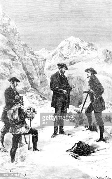 Le médecin Louis Charles Émile Lortet étudiant les effets de l'altitude sur le corps humain, lors de l'ascension d'une montagne, le 27 août 1869.