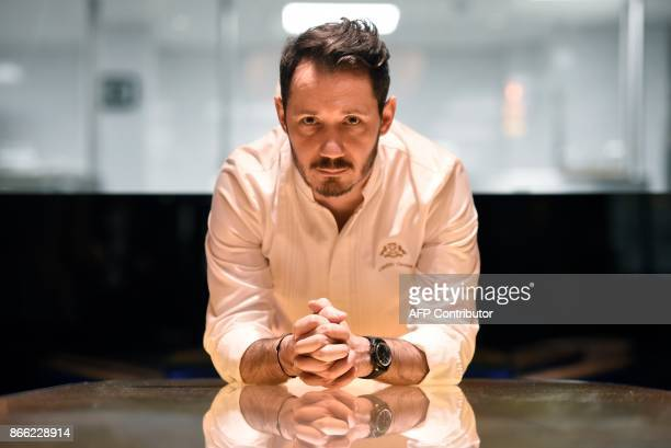 Le Meurice's pastry chef Cedric Grolet poses during a photo session at the luxury fivestar Le Meurice Hotel in Paris on October 25 2017 Grolet was...