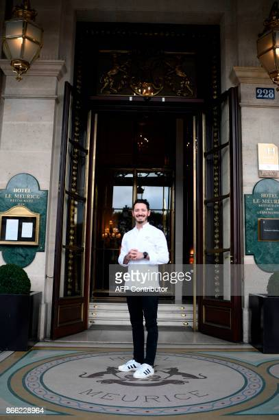 Le Meurice's pastry chef Cedric Grolet poses during a photo session in front of the luxury fivestar Le Meurice Hotel in Paris on October 25 2017...