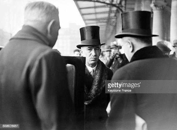 Le Ministre des affaires etrangeres de Tchecoslovaquie Edvard Benes arrive a la Gare de l'Est pour un voyage officiel a Paris France le 14 decembre...