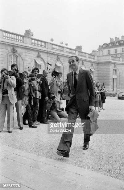 Le minsitre de la Justice Robert Badinter à l'Elysée le 24 juin 1981 à Paris France
