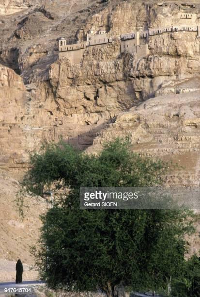 Le monastère de la Tentation sur le mont de la Quarantaine en Israël en juin 1988.
