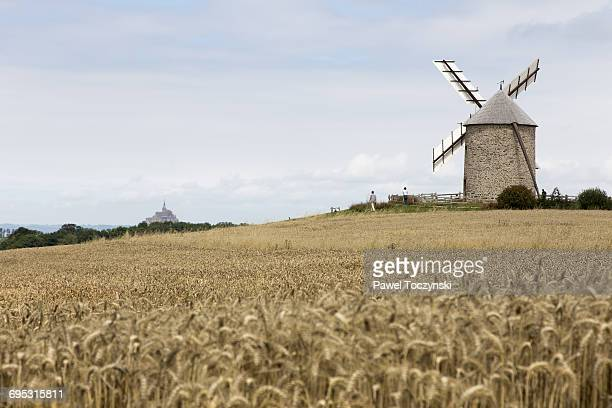Le Mont Saint-Michel from far with a mill