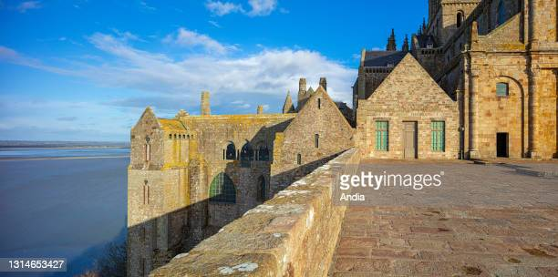 Le Mont Saint-Michel , in Normandy, north-western France: the Western Terrace .