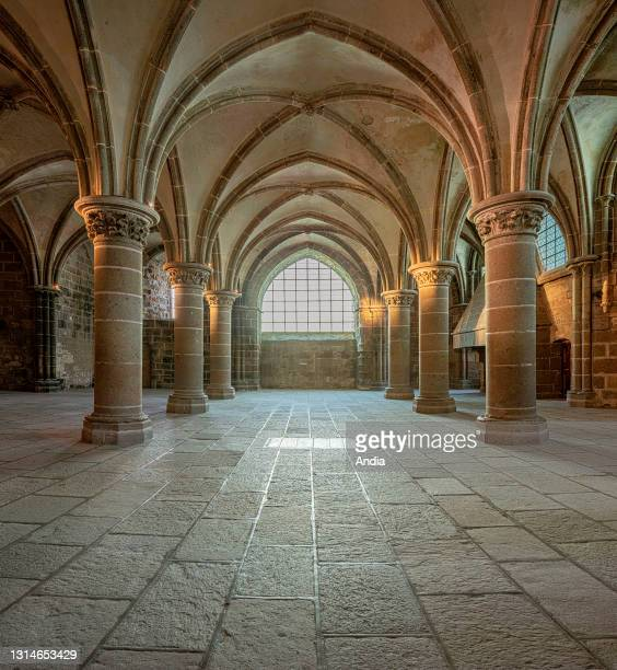 Le Mont-Saint-Michel , in Normandy, north-western France: the Knights Hall .
