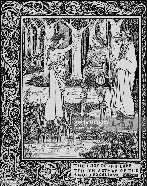 Le Morte d'Arthur novel by Thomas Malory c 1405 – 14 March 1471 Caption reads 'The Lady of the Lake telleth Arthur of the Sword Excalibur'...