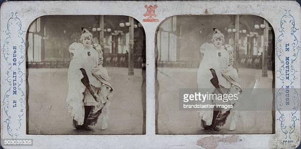 Le Moulin Rouge Paris La Goulue [CanCan dancer sitting] About 1880 handcolored semitransparent stereo photograph
