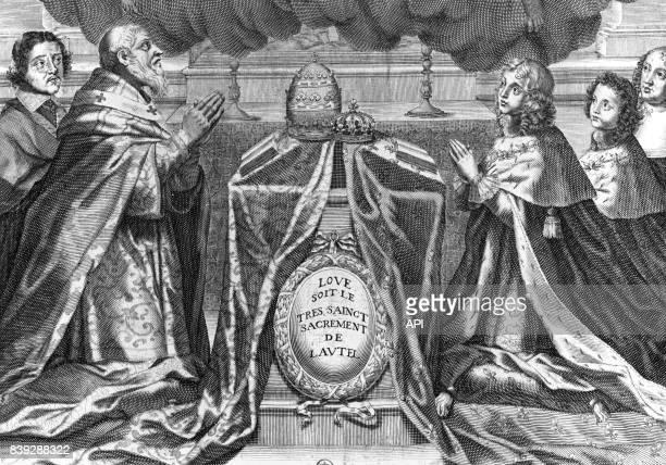 Le pape Urbain VIII et le roi de France Louis XIV adorant le SaintSacrement en présence du cardinal de Retz d'Anne d'Autriche et de Philippe d'Orléans