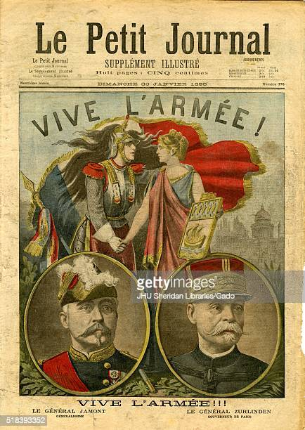 Le Petit Journal cover titled Vive L'Armee number 376 a man of the military and a womanand holding hands in front of a French flag below are...