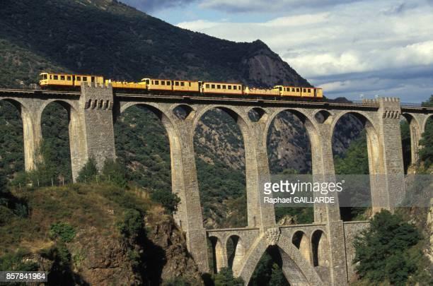 Le petit train jaune de Cerdagne sur le pont Sejourne long de 236 metres sur le Tet en septembre 1993 en France