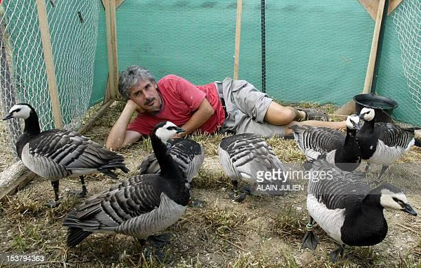 Le pilote d'ULM Christian Moullec est photographié avec ses oiseaux Bernaches Nonnettes le 25 juin près de Reims lors d'un meeting aérien organisé...