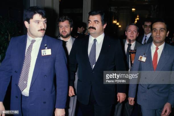 Le politicien et homme d'affaires Rafik Hariri lors de la conférence de réconciliation libanaise à l'hôtel Beaurivage en mars 1984 à Lausanne Suisse