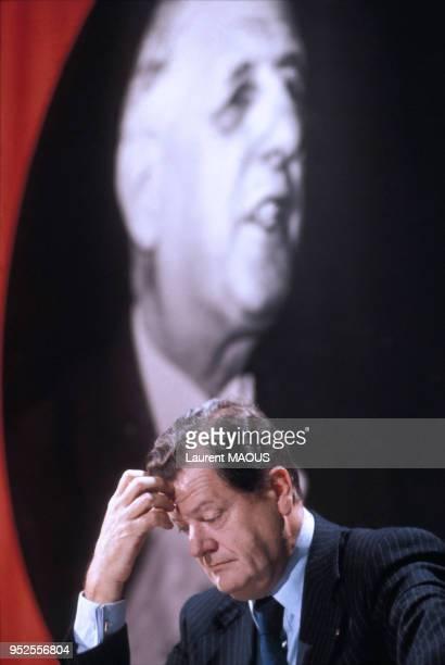 Le politicien Olivier Guichard à Antenne 2 le 10 novembre 1977 à Paris France