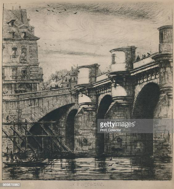 'Le PontNeuf ' From Masters of Etching Charles Meryon No 14 [The Studio London 1927] Artist Charles Meryon