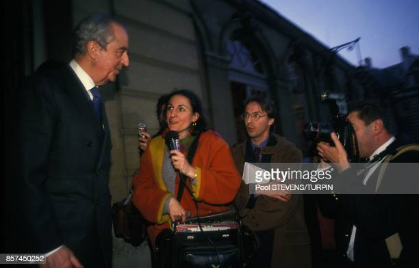 Le Premier ministre Edouard Balladur repond aux questions des journalistes le 31 mars 1993 a Paris France