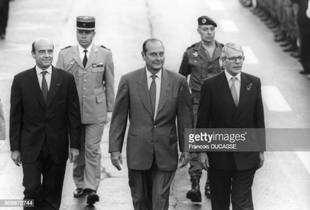 Le premier ministre français Alain Juppé, le Président de la République française Jacques Chirac et le premier ministre britannique John Major...