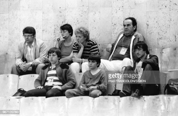 Le premier secrétaire du parti communiste français Georges Marchais et son épouse Liliane assistent aux jeux olympiques d'été de Moscou URSS en...