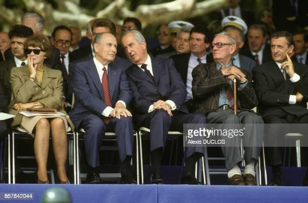 Le president de la Republique Francois Mitterrand avec sa femme Danielle le premier ministre Edouard Balladur et le ministre de la Defense Francois...