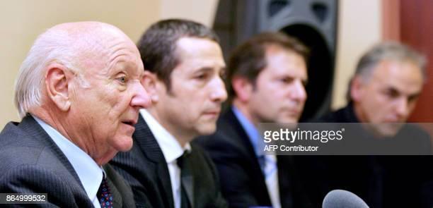 Le president du club de football FC Metz Calo Molinari donne une conférence de presse à l'issue d'un conseil d'administration exceptionnel organisé...