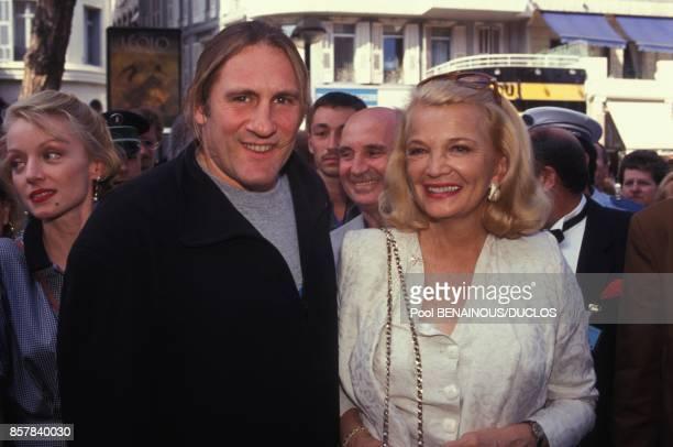 Le president du jury Gerard Depardieu avec l'actrice americaine Gena Rowlands au 45eme Festival de Cannes le 12 mai 1992 a Cannes France