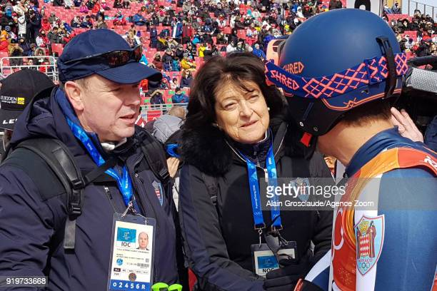 Le Prince Albert de Monaco speaks with Olivier Jenot of Monaco during the Alpine Skiing Men's Giant Slalom at Yongpyong Alpine Centre on February 18...