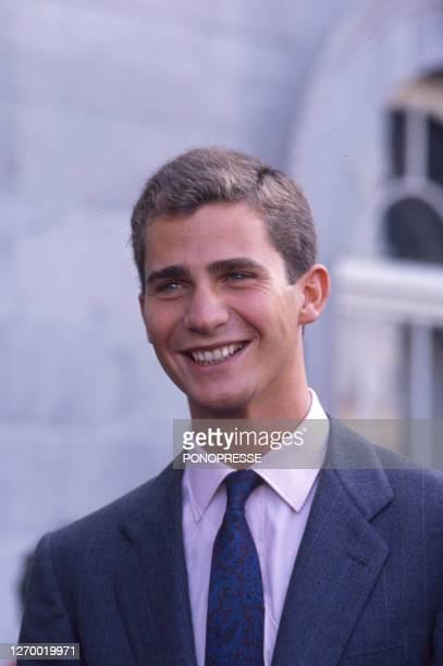Le Prince Felipe VI d'Espagne lors d'une visite officielle à Montreal le 21 septembre 1989, Canada