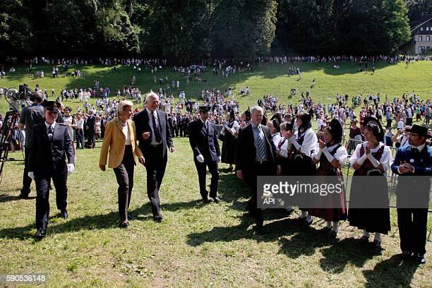Le prince HansAdam II et la princesse Marie Aglaé lors de la Fête Nationale le 15 août 2016 à Vaduz Liechtenstein