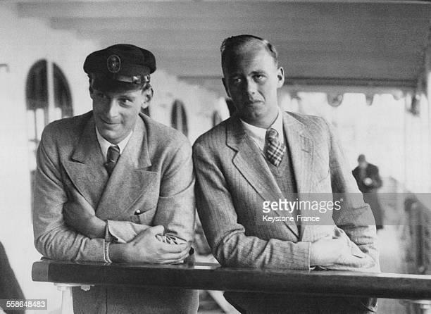Le Prince Hubert de Prusse et son cousin le GrandDuc de Mecklenbourg à bord d'un paquebot le 3 avril 1933 à Southampton RoyaumeUni