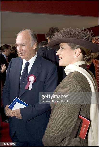 Le Prince Karim Aga Khan and daughter La Princesse Zahra at The 84th Prix De L' Arc De Triomphe In 2005 At The L' Hippodrome De Longchamp In Paris