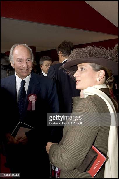 Le Prince Karim Aga Khan and daughter La Princesse Zahra at The 84th Prix De L' Arc De Triomphe In 2005 At The L' Hippodrome De Longchamp In Paris.