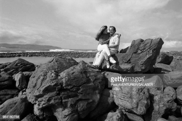 Le professeur Christian Barnard et sa femme Karin en Afrique du Sud en aout 1988