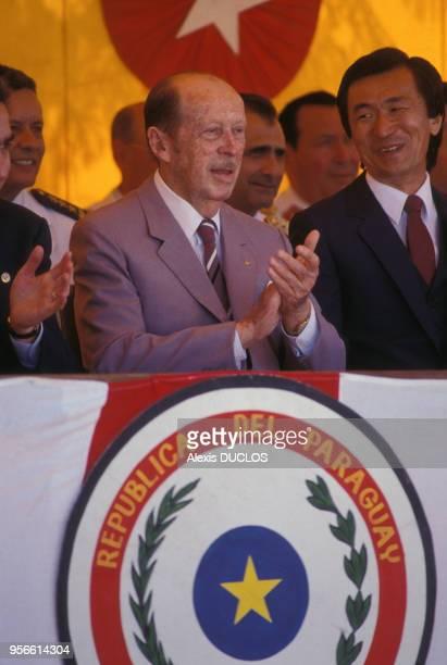 Le président Alfredo Stroessner lors d'une cérémonie en décembre 1988 au Paraguay