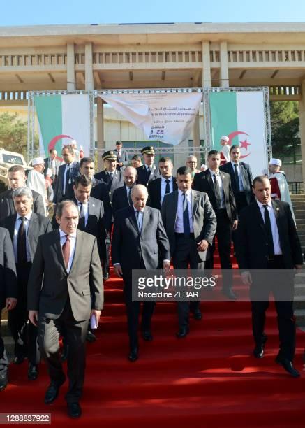 Le président algérien Abdelmadjid Tebboune à la foire de la production nationale, 22 décembre 2019, Alger, Algérie.
