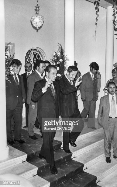 Le président américain Richard Nixon et le président syrien Hafez elAssad en juin 1974 à Damas Syrie
