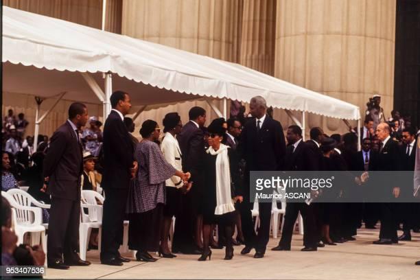 Le président de la République du Sénégal Abdou Diouf lors de l'enterrement de Félix HouphouëtBoigny à Yamoussoukro le 7 février 1994 Côte dIvoire