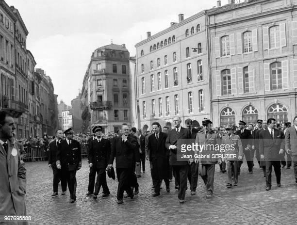 Le président de la République Française Charles de Gaulle lors de sa visite officielle à Toulouse, le 14 février 1959, en Haute-Garonne, France.
