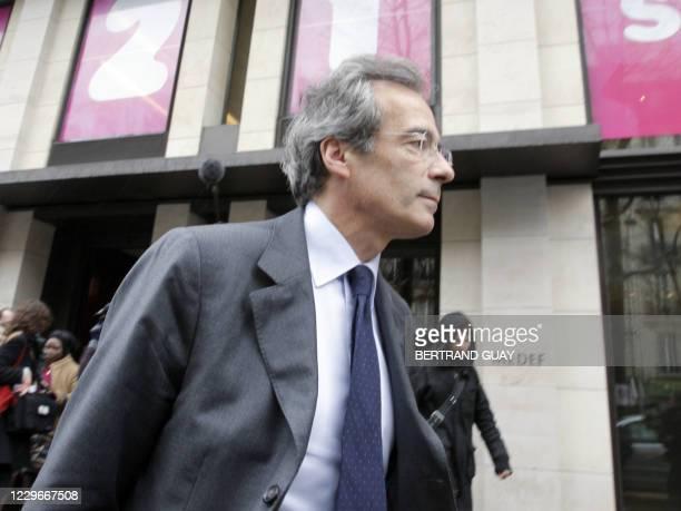 Le président de l'Union des Industries et Métiers de la Métallurgie , Frédéric Saint-Geours quitte, le 10 mars 2008, le siège du Medef à Paris, à...
