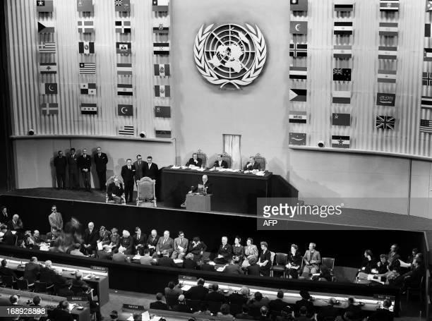 Le président du Conseil Vincent Auriol prononce le discours d'ouverture de la troisième assemblée des Nations-Unies le 22 septembre 1948 au Palais de...