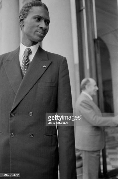 Le président du Sénégal Abdou Diouf à l'Elysée lors d'un sommet FrancoAfricain à Paris le 6 novembre 1981 France