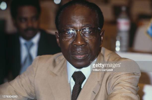 Le président du Sénégal Leopold Senghor assiste à la conférence internationale de l'O.U.A. : l'Organisation de l'unité africaine. Khartoum , 20...
